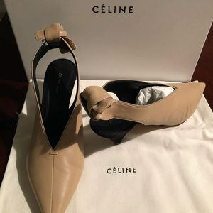 New Authentic Celine Slingback Leather Pumps Knott